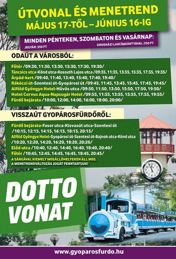 Gyopárosfürdő Dotto-vonat megállók és menetrend, 2019. tavasz