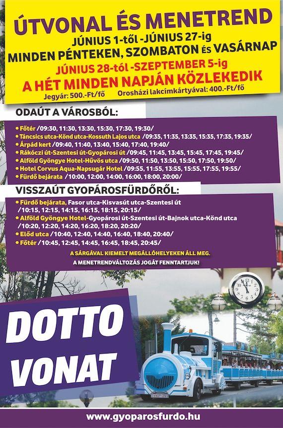 Dotto-vonat Orosháza-Gyopárosfürdő menetrend 2021
