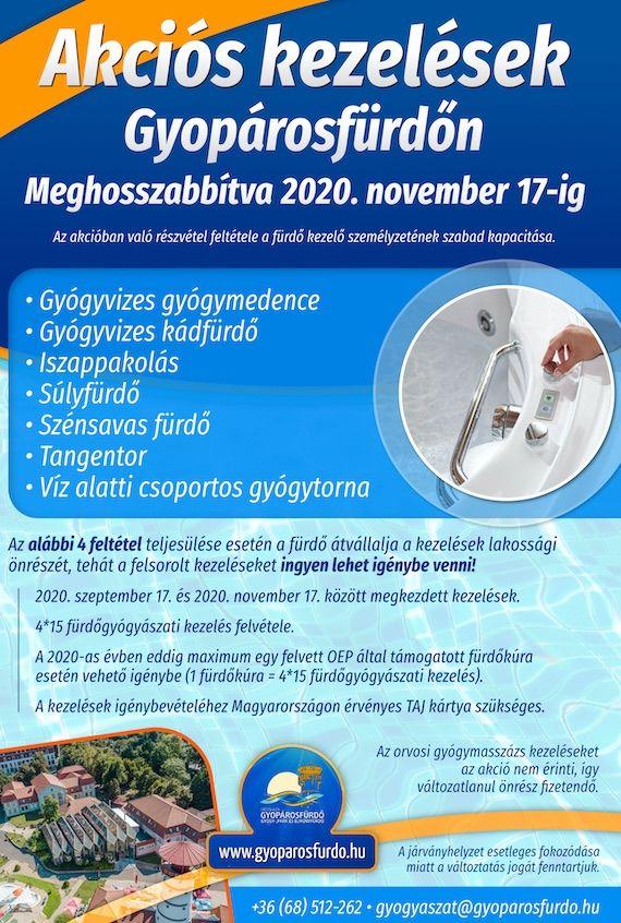 Gyopárosfürdő Gyógyászati akció 2020.09.17-11.17